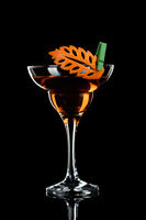 Art in orange- fruits carving. How to make to citrus garnish design for a drink. Cocktail Rob Roy. W