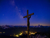 Starry sky with milky way above the summit of the Berchtesgadener Hochthron