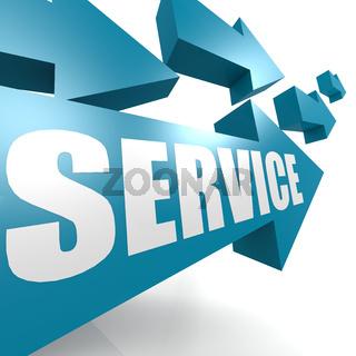 Service arrow in blue