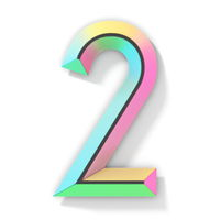 Neon color bright font Number 2 TWO 3D