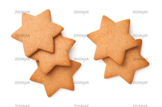 Gingerbread Cookies In Shape Of Stars Isolated