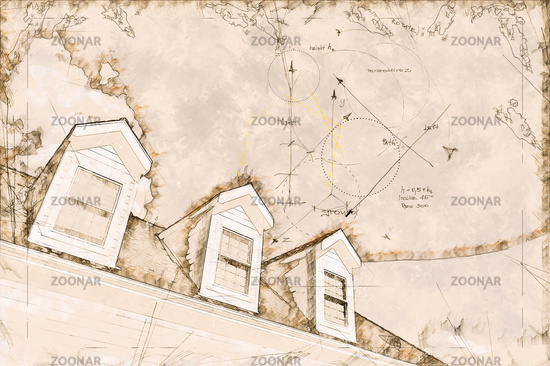 Artist Rendering Sketch of Residential Roof and Dormers