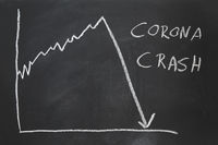 corona crash - hand-drawn graph showing stock market collapse