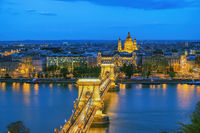 Budapest Hungary, city skyline night at Danube River with Chain Bridge and St. Stephen's Basilica