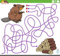 educational maze game with cartoon beaver and wood logs