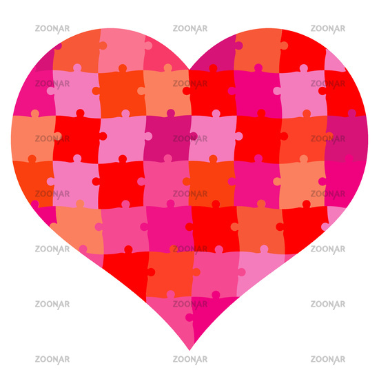 Heart shape puzzle red- vector illustration