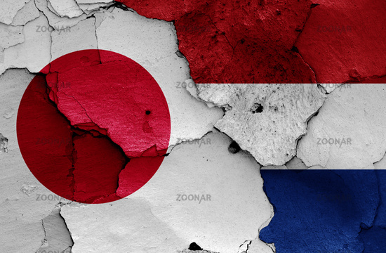 flags of Japan and Netherlands painted on cracked wall