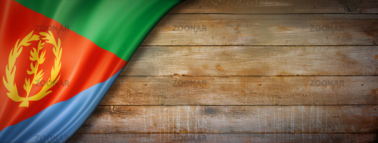 Eritrean flag on vintage wood wall banner