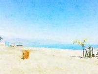 Watercolour Art Print, Sea and Travel Scene