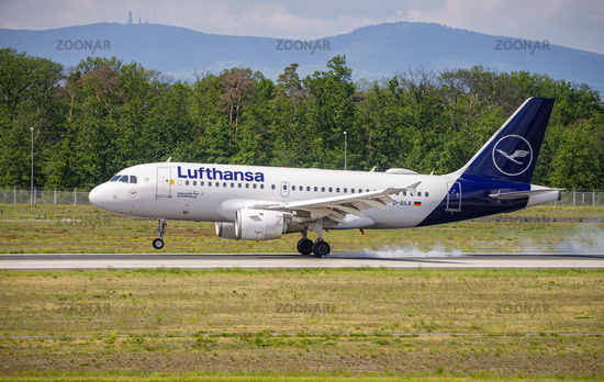 Airplane of Lufthansa at the landing