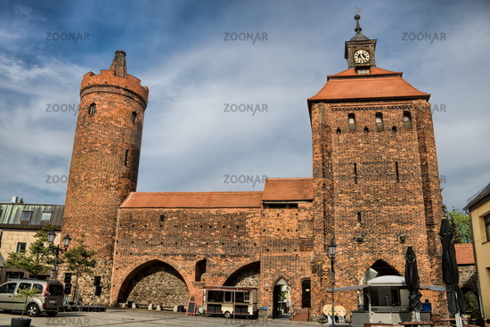 Bernau near BBernau near Berlin, Germany - April 30th, 2019 - medieval city wall with stone gate and
