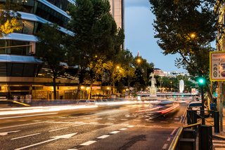 Long Exposure of street with traffic light trails in Madrid