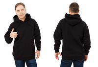 Middle age man in black sweatshirt template isolated. Male sweatshirts set with mockup and copy space. Sweat shirt design front and back view. Show like sign