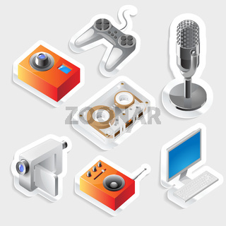 Sticker icon set for entertainment devices