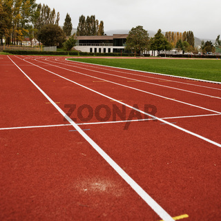 Empty sports track and field
