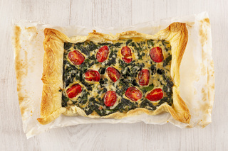 Home made spinach quiche.