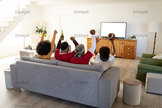 Rear view of Multi generation family cheering while watching sports on TV at home