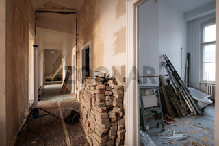 old flat during home renovation, apartment construction site
