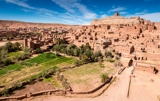 Fortified village and palm trees, Ait Benhaddou, Morocco