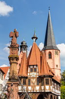 Historic old town hall on the market square in Michelstadt in the Odenwald, Hesse