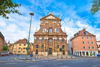 Wurzburg. Saint Michael Catholic Church street view in Wurzburg