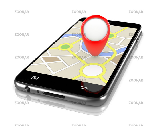Smartphone Showing a Navigation System Map with a Red Marker 3D Illustration on White Background