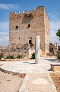 The view of Kolossi Castle and the stone pillar at the entrance. Kolossi. Limassol District. Cyprus