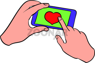 Smartphone in hands with heart on the screen icon
