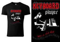 Black T-shirt with Sketch of Musician Playing on Synthesizer