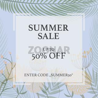 SUMMER SALE promotional flyer template for website or social media