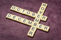 october, november and december crossword