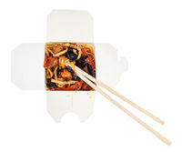 udon noodles with fried chicken in box isolated