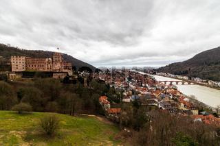 Panorama of Heidelberg Castle, ger. Schloss Heidelberg, and Skyline of the Town Heidelberg, Baden-Wuerttemberg, Germany. Europe