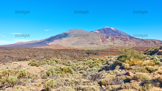 Canarian highland landscape with Teide volcano