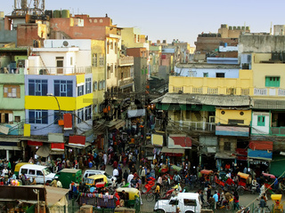 Busy streets of Old Delhi, view from Jama Masjid