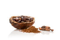 Cocoa beans and powder isolated.