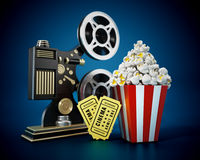 Vintage movie projector, popcorn and cinema tickets. 3D illustration