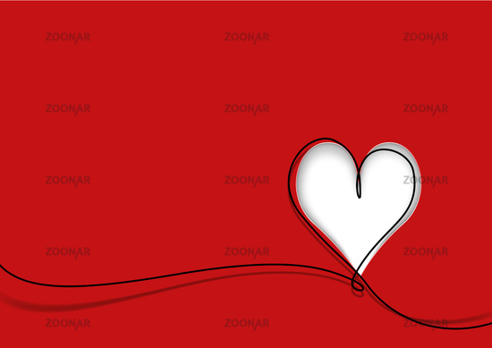 Greeting Card with Cute Heart Shape and Black Line on Red