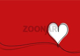 Grußkarte mit niedlicher Herzform und schwarzer Linie auf Rot
