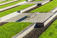 Bank in a modern park