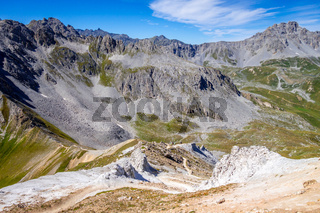 Mountain landscape and Mone Pass in Pralognan la Vanoise, French alps