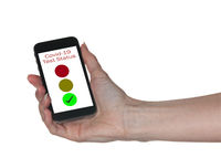 Concept of Covid-19 test status on smartphone App to show immunity to virus