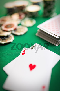 two aces on casino table