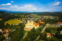 Aerial panoram of Baroque Mariatrost Basilica on top of the Purberg hill in Mariatrost, a district of Graz.