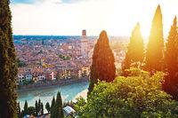 Idyllic Verona skyline at red sundown view