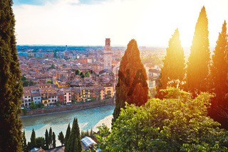 Idyllic Verona skyline at red sundown view