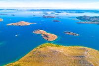 Kornati. Aerial panoramic view of famous Adriatic sea sailing destination