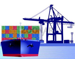 Schiff mit Container.eps