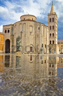 Zadar cathedral landmark with water reflection