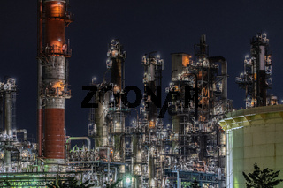 Factory night view of Kawasaki Keihin industrial zone